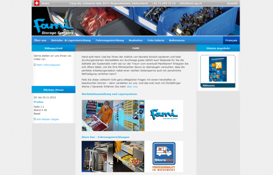 Fami Storage Systems: Kunde Webdesign