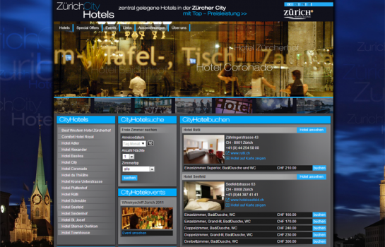 Zürich City Hotels: Kunde Webdesign