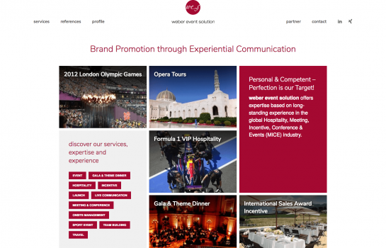 Weber Event Solution: Kunde Webdesign